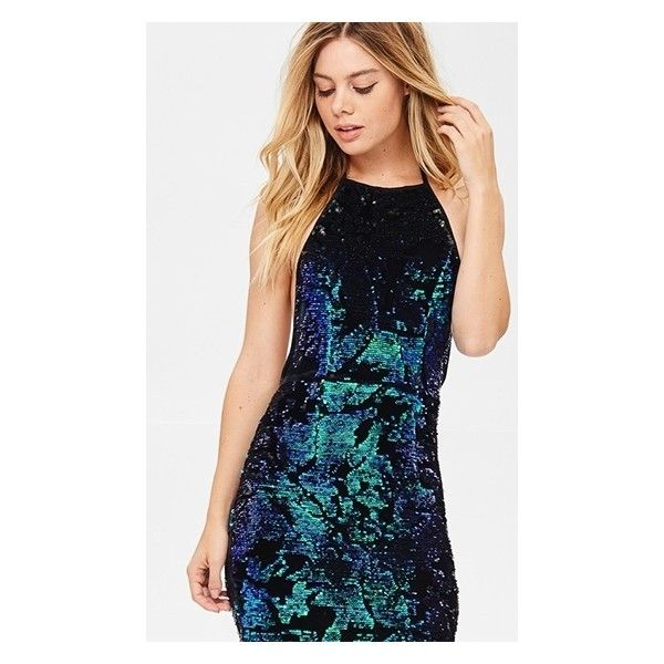 Too Hot To Handle Green Metallic Sequin Spaghetti Strap Backless... ($60) ❤ liked on Polyvore featuring dresses, blue dress, green bodycon dress, sequin mini dress, blue sequin dress and bodycon dresses