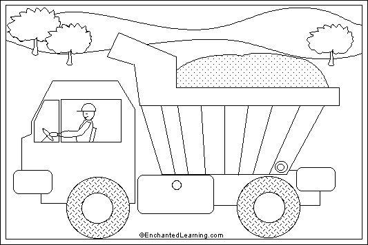 dump truck | Dump Truck online coloring page: EnchantedLearning.com