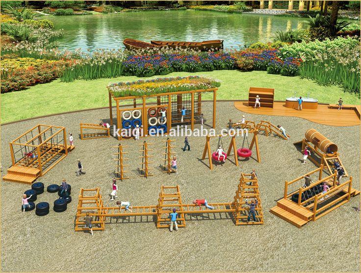 KAIQI enfants escalade système parc d'attractions en bois en plein air équipements de jeux