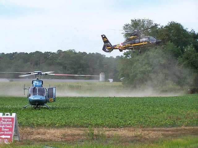 Maryland State Police and the Delaware State Police at a multiple helicopter scene.