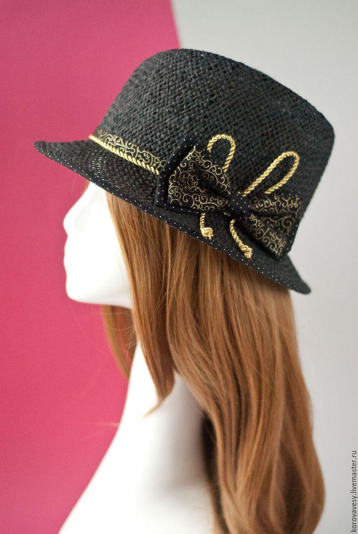 """Купить """"Летняя ночь"""" - черный, золотой, федора, соломенная шляпка, Соломка, натуральная соломка"""