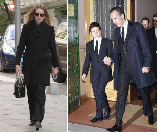 La infanta Elena y su hijo, Felipe, acompañan a Jaime de Marichalar en el funeral por su madre, la condesa viuda de Ripalda