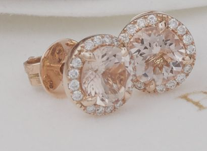18ct Rose Gold Morganite & Diamond Earrings - Camellia collection