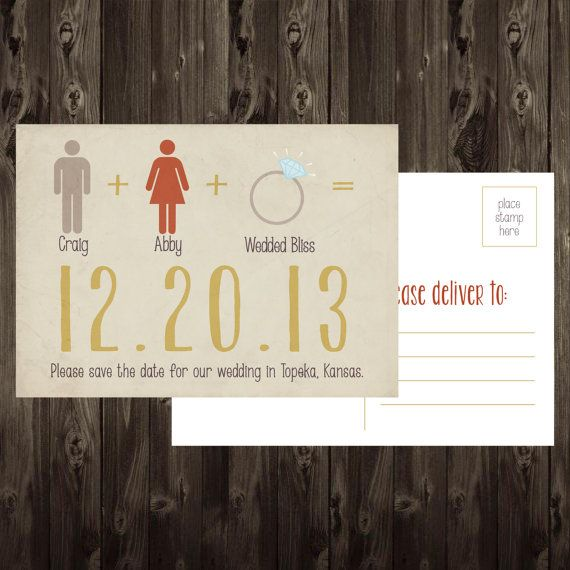 Funny Save the Date Postcard DIY Printable Math by onered on Etsy, $10.00