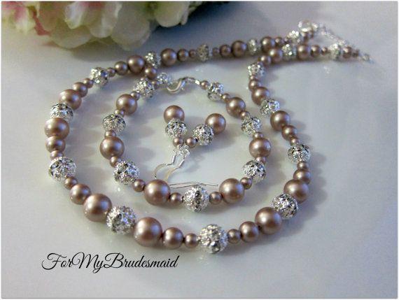 Bridal Pearl Jewelry Set Wedding Jewelry Set by ForMyBridesmaid