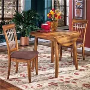 Berringer 3-Piece Drop Leaf Table & 2 Upholstered Side Chairs by Ashley Furniture - AHFA - Dining 3 Piece Set Dealer Locator