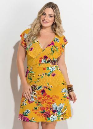 b587e807a Vestido Transpassado (Estampado Amarelo) Plus Size | Looks ...