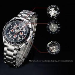 IK 98005 3 Dial Black White Mechanical Skeleton Men Wrist Watch