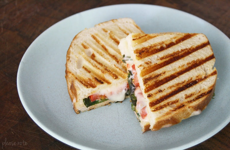 Grilled Basil, Tomato & Fontina Sandwiches