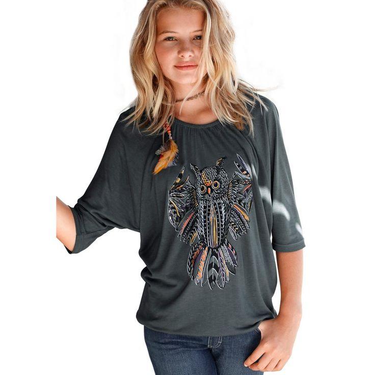 T-shirt imprimé hibou manches 3/4 chauve-souris fille CFL