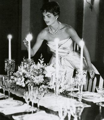 Jackie O. Preparing for Her First Couple Dinner (1954)....oh my I love this!