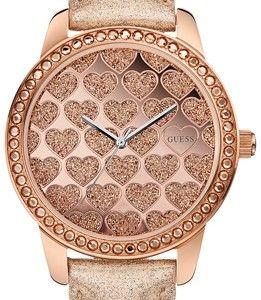 Τιμή : 126€ (από 149€) !! Κομψό ρολόι GUESS σε ροζ χρυσό χρώμα με καρδιές.