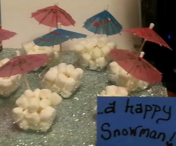 Happy Snowman! In summer.... hot cocoa bar at Disney Frozen themed party.