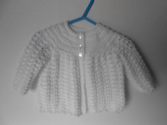 Handknit Layette Set. Knit Matinee Coat Bonnet by AluraCrafts