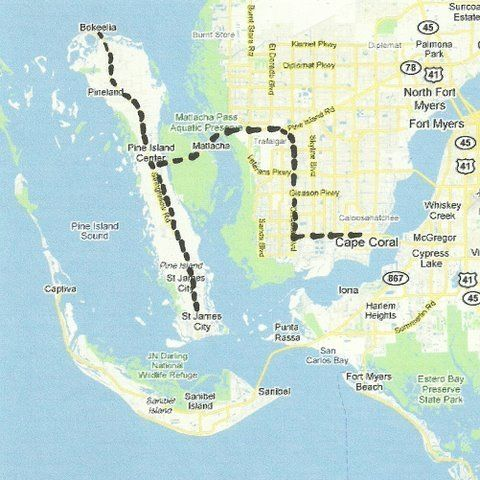 Pine Island Florida Map.Florida Backroads Travel Map Of Route From Cape Coral To Pine Island