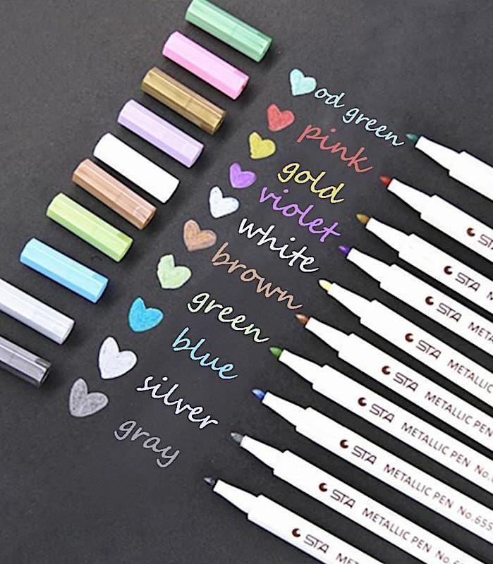 10-pack Assorted Metallic Paint Marker Markers Set of 10 Colors Pens Pen
