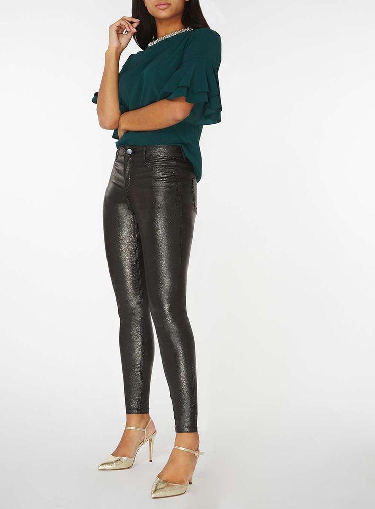 Womens Gold Glitter 'Frankie'- Super Skinny Jeans- Gold