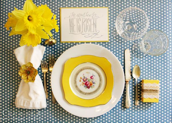 Another Easter place setting for the table with He is Risen printable art.  This one with cut daffodils incorporated into the napkin & napkin ring. (Trader Joe's has daffodils!)