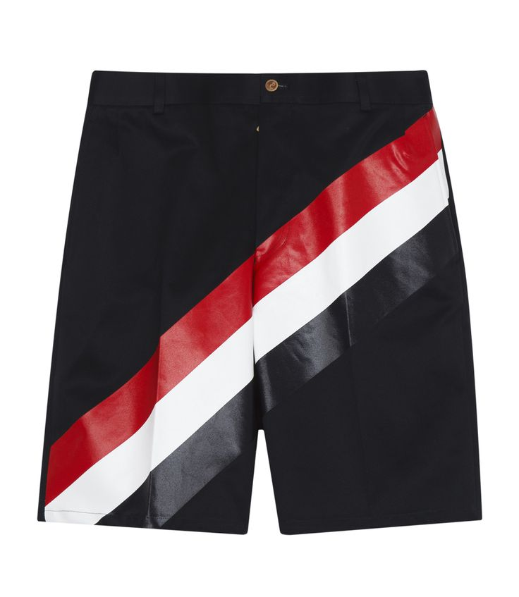 THOM BROWNE CHINO SHORT IN COTTON WITH SIGNATURE COLOURS STRIPES