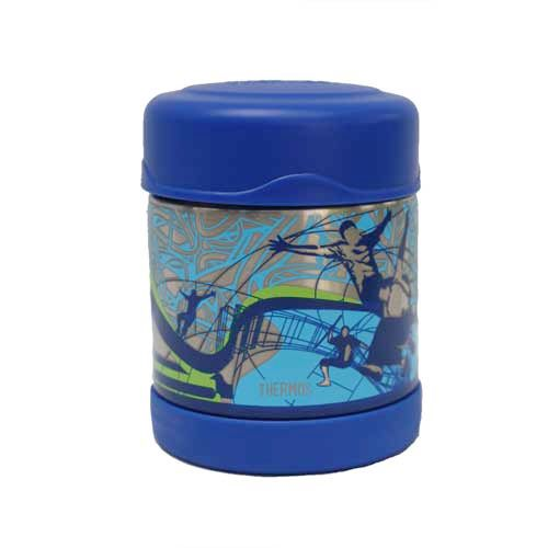 FUNtainer Food Jar - Action- The very cute Thermos FUNtainer food jar in a cool action print, is so handy and will keep your food insulated for hours. With a wide opening, it is easy to fill, eat from and clean. It is fantastic for when you are on the go or for the kids to take to school #bpafre #kidslunchboxes #thermos