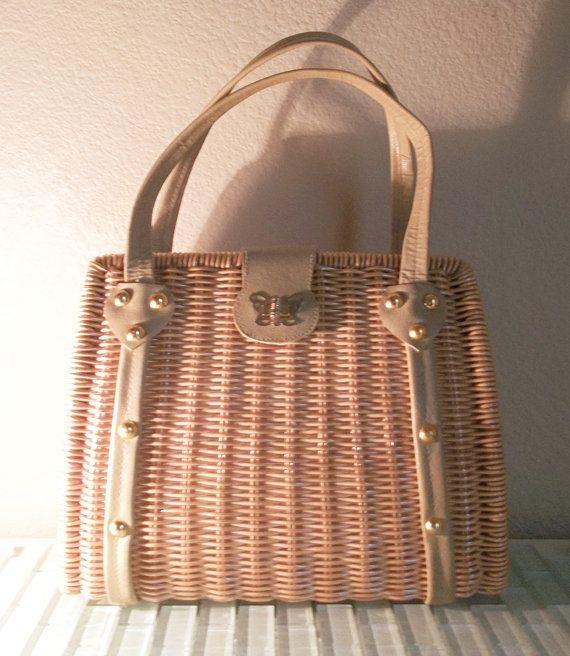 Vintage Wicker Basket Purse Big Structured Spring Summer Bag