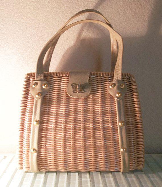 Vintage Wicker Basket Purse Big Structured Spring Summer Bag