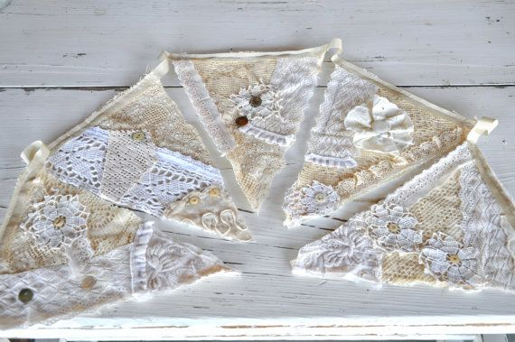 Vintage Lace and Linen- 7 Pennants- 6' bunting- Wedding -Shabby Chic Decor- photo booth prop- Window Valances