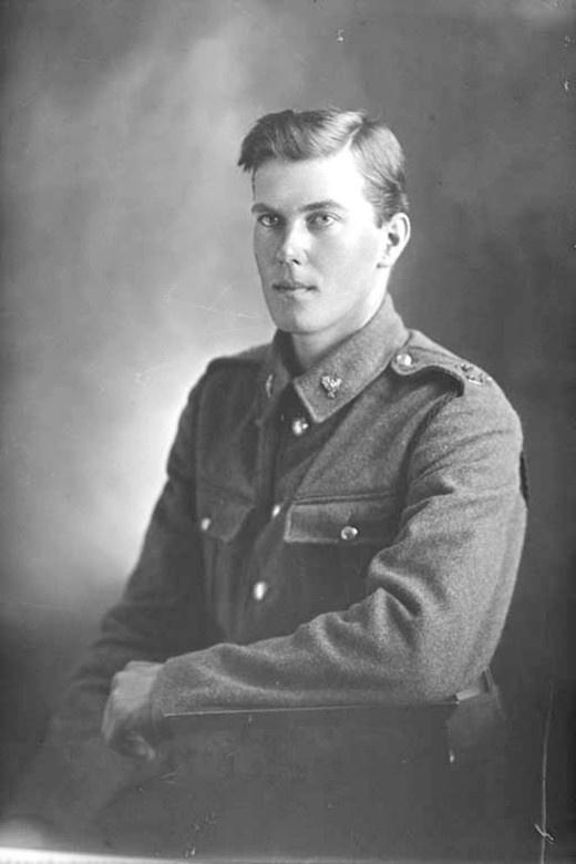 3/4 portrait of Private John Birdsall Greenwood, Reg No 42091, of the 23rd Reinforcements, E Company.