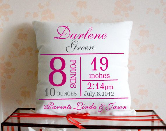 Custom baby Pillowcase,Personalized Birth Announcement Pillow,Pink Cushion Cove case,Unique Birthday Gift,18*18 Pillow set,Throw pillow case 1.The