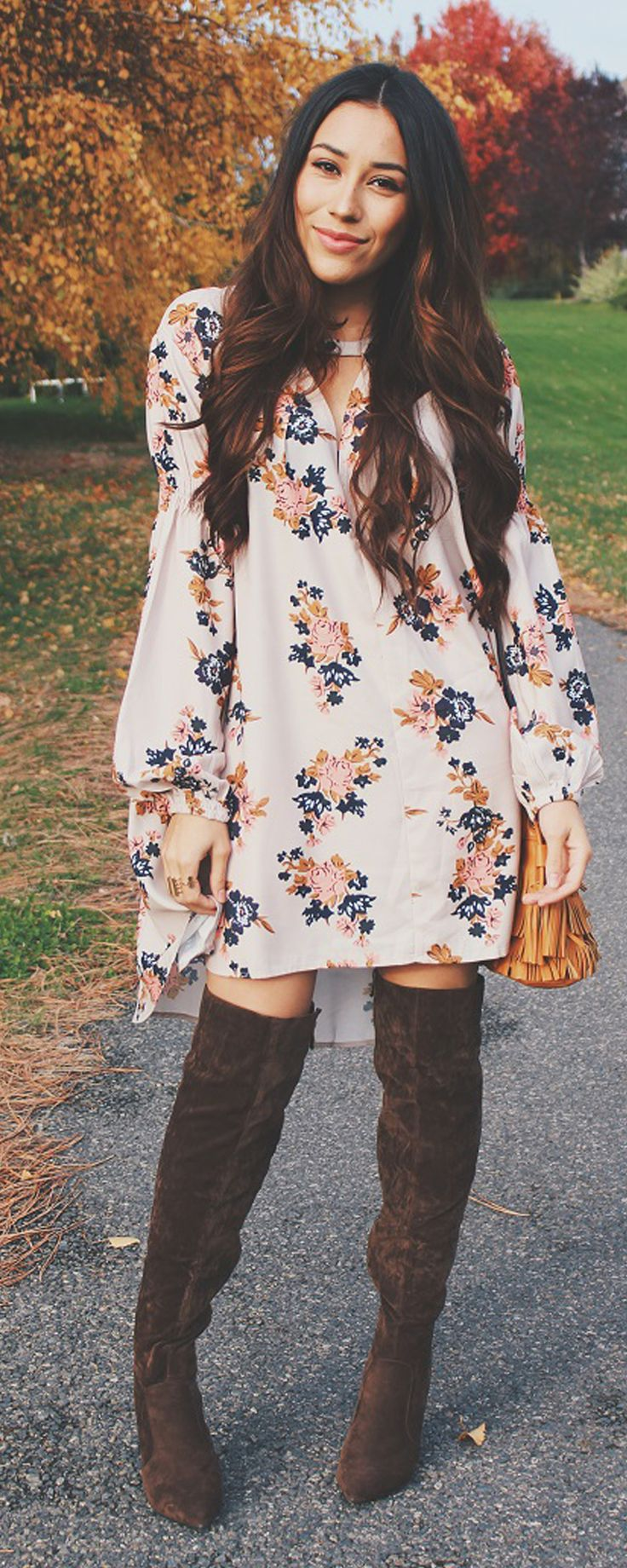 Wear a floral short dress, and try pairing with boots like so for a very lovely, boho vibe.Find more color for it at shein..com .40% Off Your 1st Order! Free Shipping with 100% Quality Guarantee!