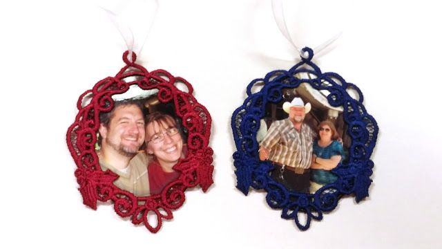 Christmas Ornaments - Machine Embroidered Free Standing Lace