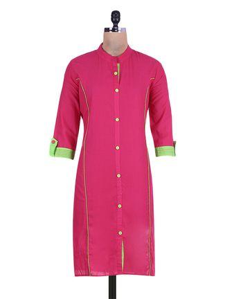 Buy Libaaz Pink Mandarin Collar Cotton Kurta Online, , LimeRoad