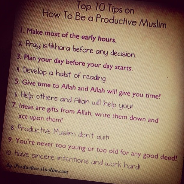 Tips to be productive by ProductiveMuslim.com