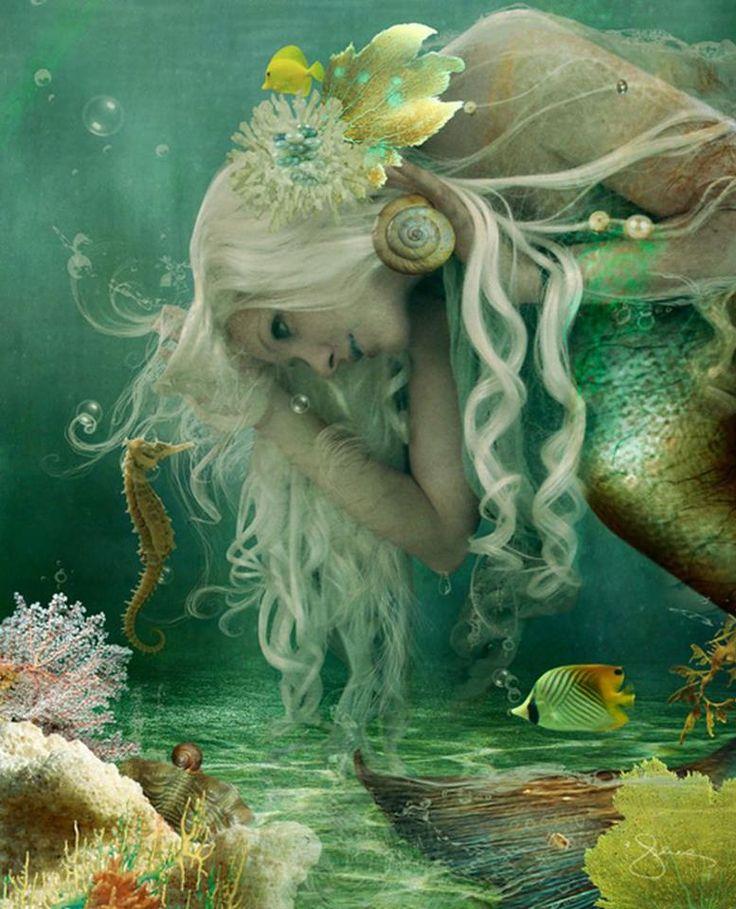 Mermaids Ocean Sea Seahorses:  #Mermaid with #seahorse.