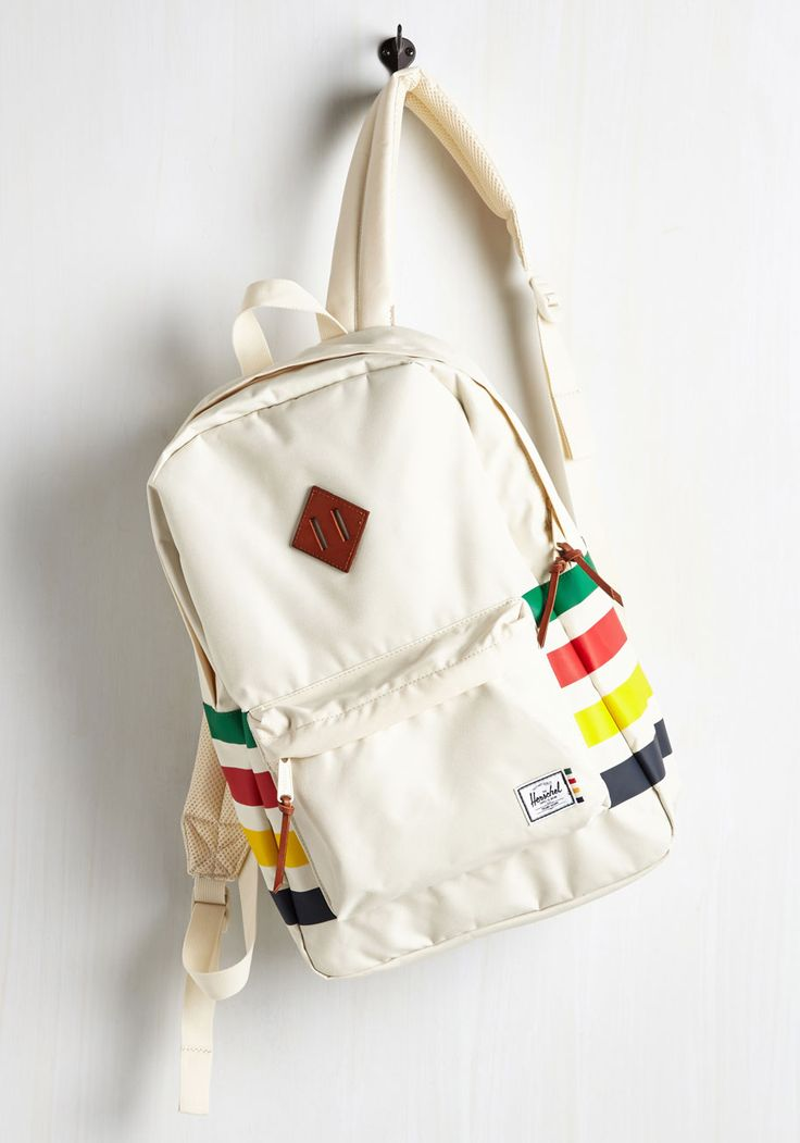 Transiting Pretty Backpack. When the open road calls your name, travel in style with this colorfully striped backpack by Herschel Supply Co. #cream #modcloth