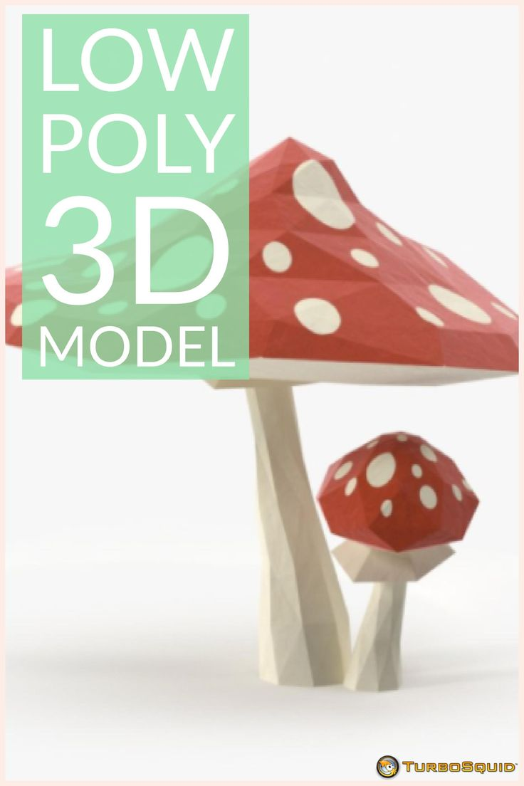 Low Poly Red Mushrooms 3D Model by royalmix