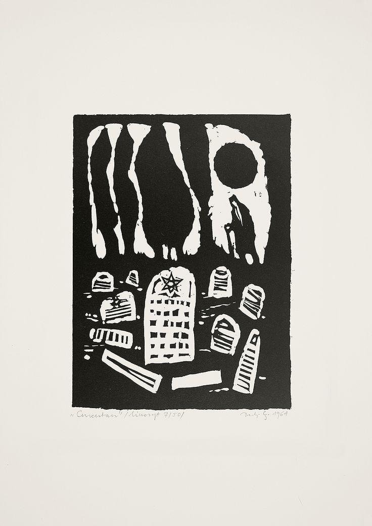 Jerzy Duda Gracz | CMENTARZ, Z CYKLU JUDAICA, 1964 | linoryt, papier | 16.5 x 12.5 cm
