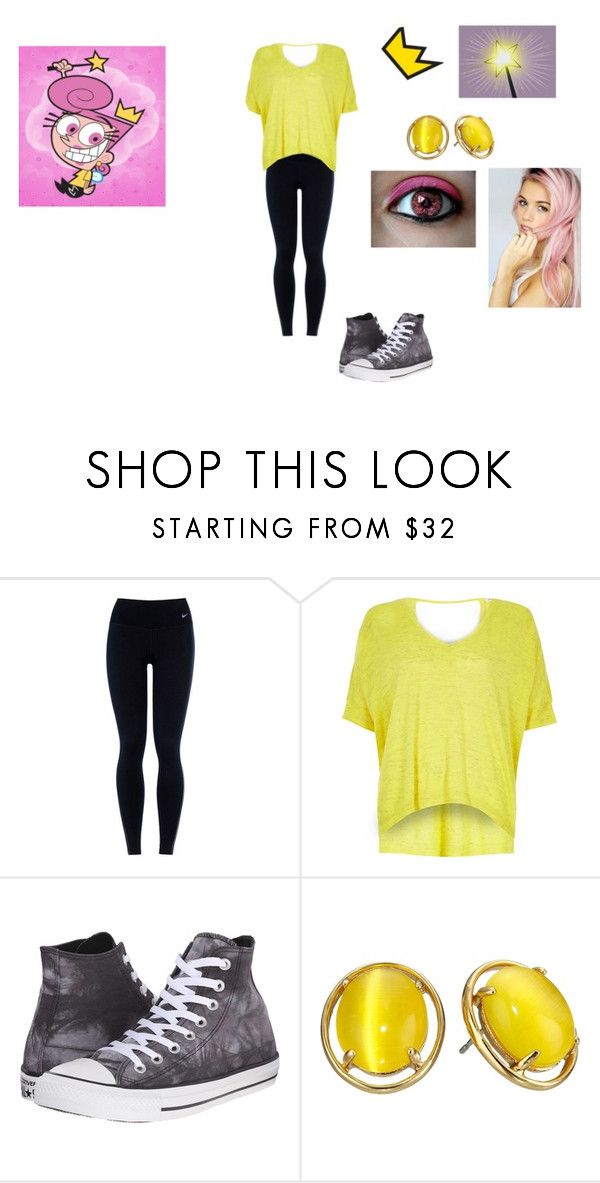 """""""Wanda Fairywinkle"""" by ocean-goddess ❤ liked on Polyvore featuring NIKE, River Island, Converse and Kate Spade"""