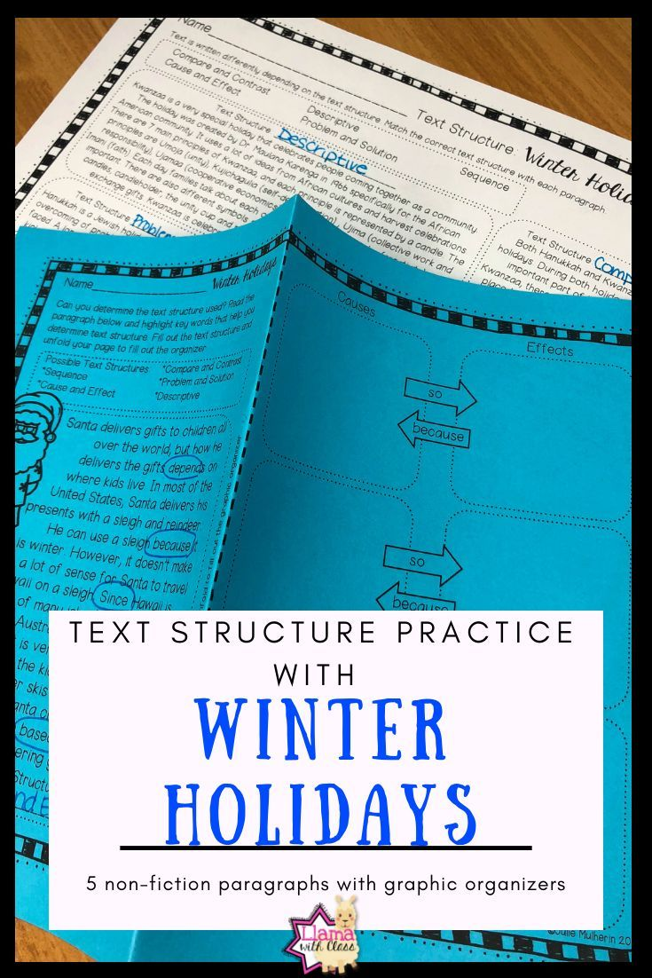 Winter Holidays Text Structure Worksheets | Teaching Ideas I Love