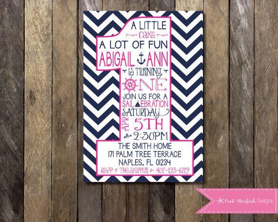 PRINTABLE Nautical First Birthday Invitation - 1st Birthday Invitation Pink Fully Customizable - Girls Boys Birthday Party 4x6 or 5x7 on Etsy, $13.00