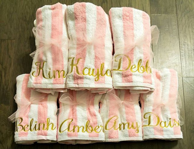 The finished order of personalized monogrammed beach towels for a Bachelorette party favors. Such a practical but #pretty #partyfavors #gift for a #bachelorette #party love how they came out!! #LCB #personalized #custom #monogram #monogrameverything #monogramlife #basic #embroidery #betheonewhogivesthecoolestgifts #girls #trip #beachtowel #pink #gold #pinkandgold #latergram