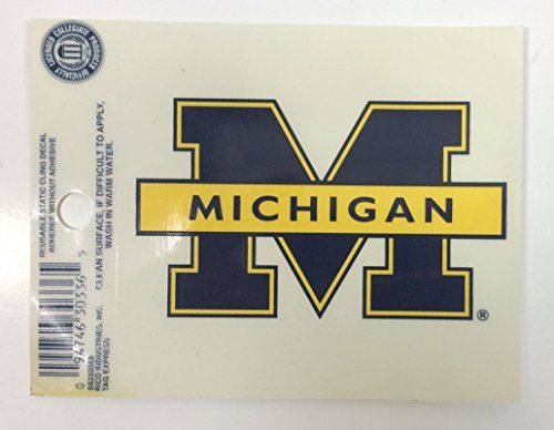 "University of Michigan Wolverines Mascot Car Decal  University of Michigan Wolverines Mascot Car Decal  Officially Licensed Collegiate Product  Team logo and colors  Reusable Cling  3 1/4"" x 3 1/2"""
