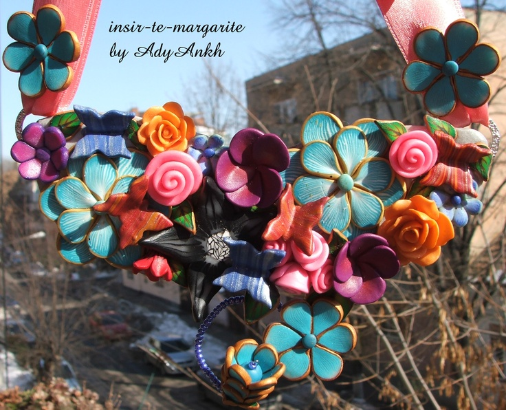 polymer clay statement necklace