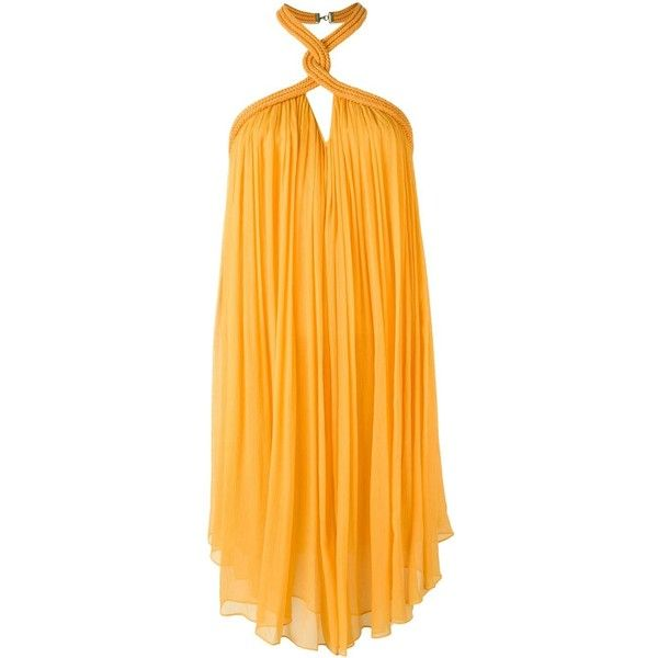 Jay Ahr Rope Detail Halterneck Dress ($1,704) ❤ liked on Polyvore featuring dresses, yellow dress, jay ahr, halter neckline dress, rope dress and halter-neck dress