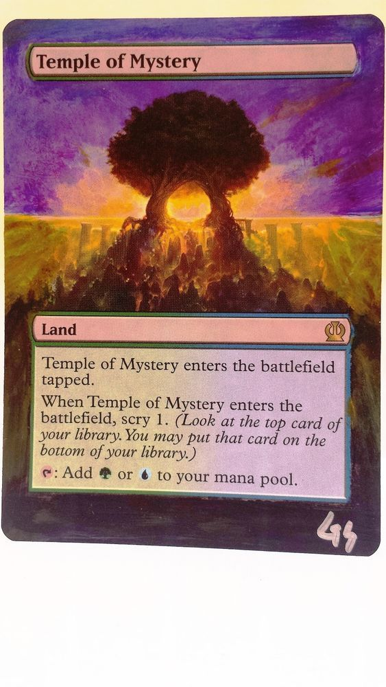 mtg altered art temple of mystery hand painted full art