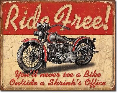 Motorcyle RIDE FREE Metal TIN SIGN New Vintage Style Wall Decor HARLEY DAVIDSON