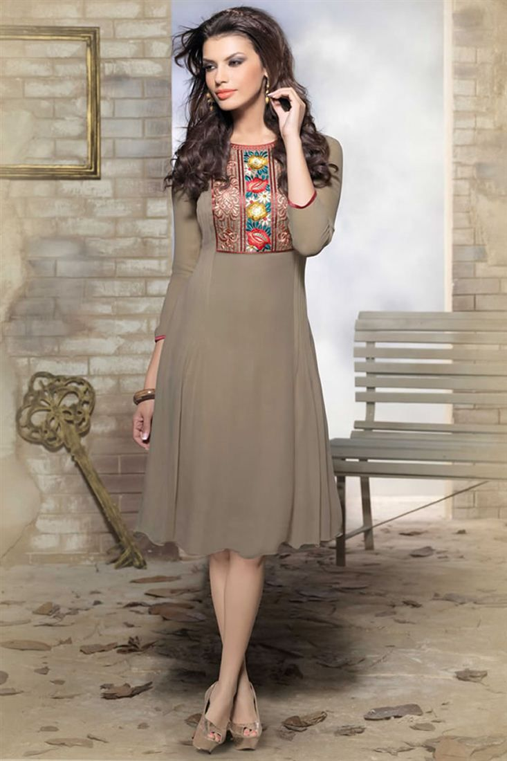 Designer Party Wear Georgette Kurti - $33.33