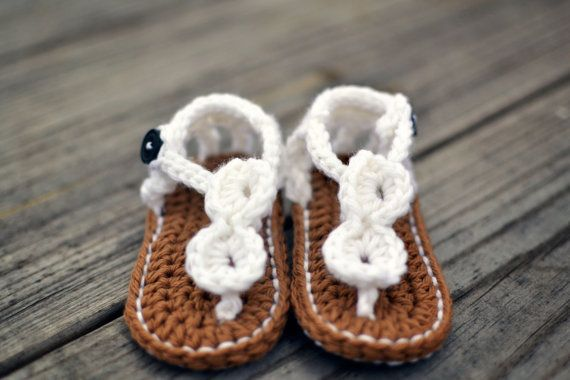 Hand Crochet white newborn sandals