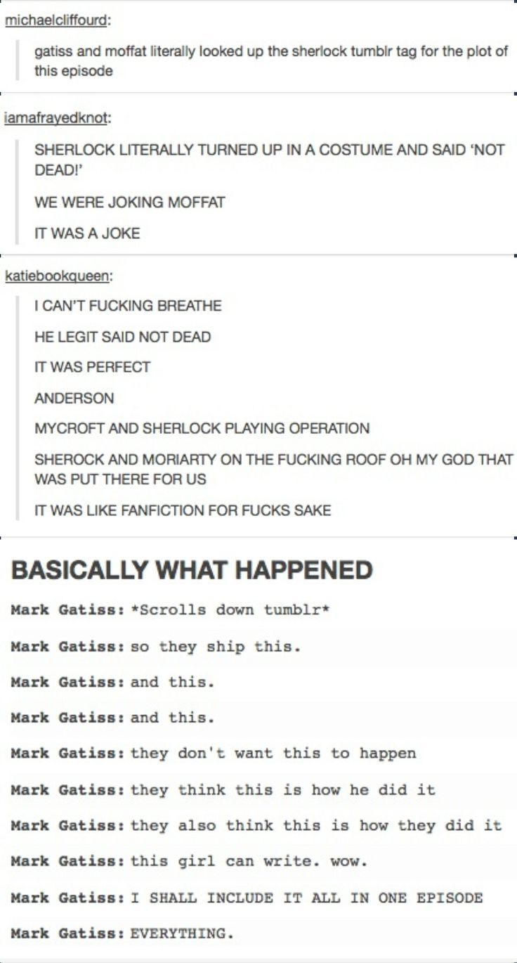All aboard the train to fanfictionville, current residents: tumblr, and Mark Gatiss.