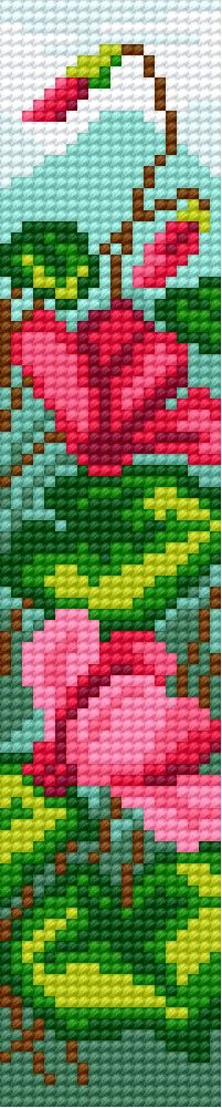 bookmark in cyclamen pattern 1 ALTHOUGH CROSS STITCH THIS WOULD MAKE A GREAT SEED BEAD PROJECT.